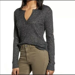 Socialite Long Sleeve Thermal Henley Top-S